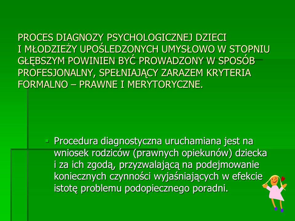 PROCES DIAGNOZY PSYCHOLOGICZNEJ DZIECI I MŁODZIEŻY UPOŚLEDZONYCH UMYSŁOWO W STOPNIU GŁĘBSZYM POWINIEN BYĆ PROWADZONY W SPOSÓB PROFESJONALNY, SPEŁNIAJĄ