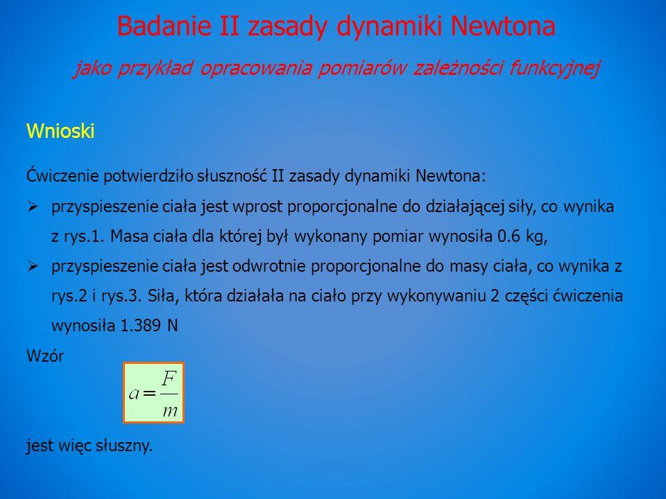 Badanie II zasady dynamiki Newtona jako przykład opracowania pomiarów zależności funkcyjnej Wnioski Ćwiczenie potwierdziło słuszność II zasady dynamiki Newtona: przyspieszenie ciała jest wprost proporcjonalne do działającej siły, co wynika z rys.1.