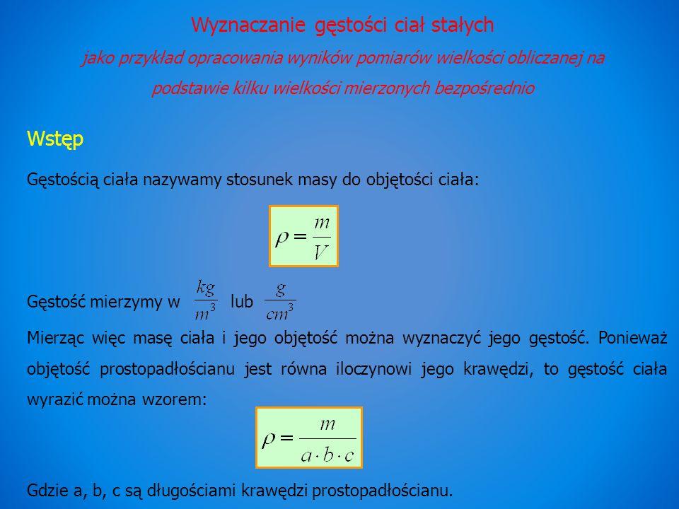 Wyznaczanie gęstości ciał stałych jako przykład opracowania wyników pomiarów wielkości obliczanej na podstawie kilku wielkości mierzonych bezpośrednio Wstęp Gęstością ciała nazywamy stosunek masy do objętości ciała: Gęstość mierzymy wlub Mierząc więc masę ciała i jego objętość można wyznaczyć jego gęstość.