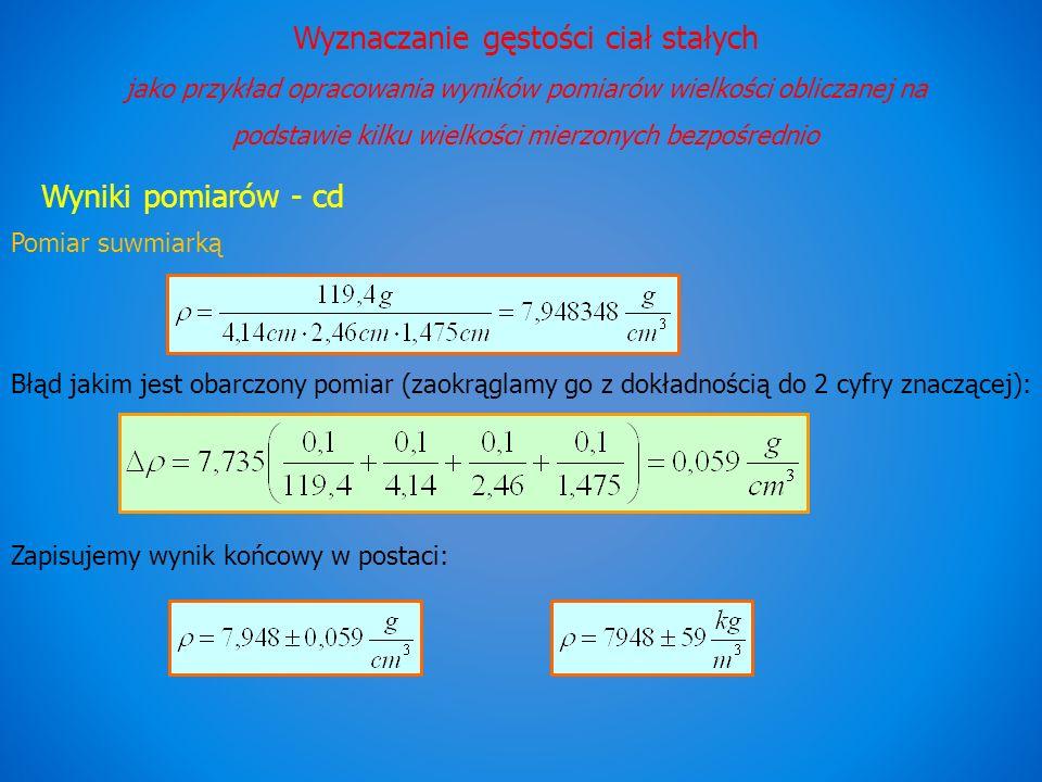 Wyznaczanie gęstości ciał stałych jako przykład opracowania wyników pomiarów wielkości obliczanej na podstawie kilku wielkości mierzonych bezpośrednio Wyniki pomiarów - cd Pomiar suwmiarką Błąd jakim jest obarczony pomiar (zaokrąglamy go z dokładnością do 2 cyfry znaczącej): Zapisujemy wynik końcowy w postaci:
