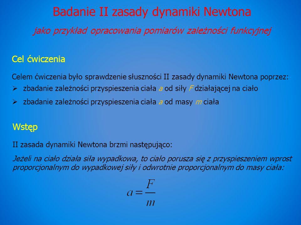 Badanie II zasady dynamiki Newtona jako przykład opracowania pomiarów zależności funkcyjnej Cel ćwiczenia Celem ćwiczenia było sprawdzenie słuszności II zasady dynamiki Newtona poprzez: zbadanie zależności przyspieszenia ciała a od siły F działającej na ciało zbadanie zależności przyspieszenia ciała a od masy m ciała Wstęp II zasada dynamiki Newtona brzmi następująco: Jeżeli na ciało działa siła wypadkowa, to ciało porusza się z przyspieszeniem wprost proporcjonalnym do wypadkowej siły i odwrotnie proporcjonalnym do masy ciała: