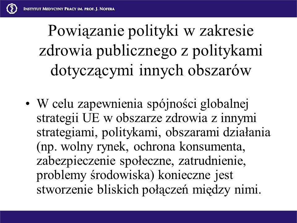 Powiązanie polityki w zakresie zdrowia publicznego z politykami dotyczącymi innych obszarów W celu zapewnienia spójności globalnej strategii UE w obsz