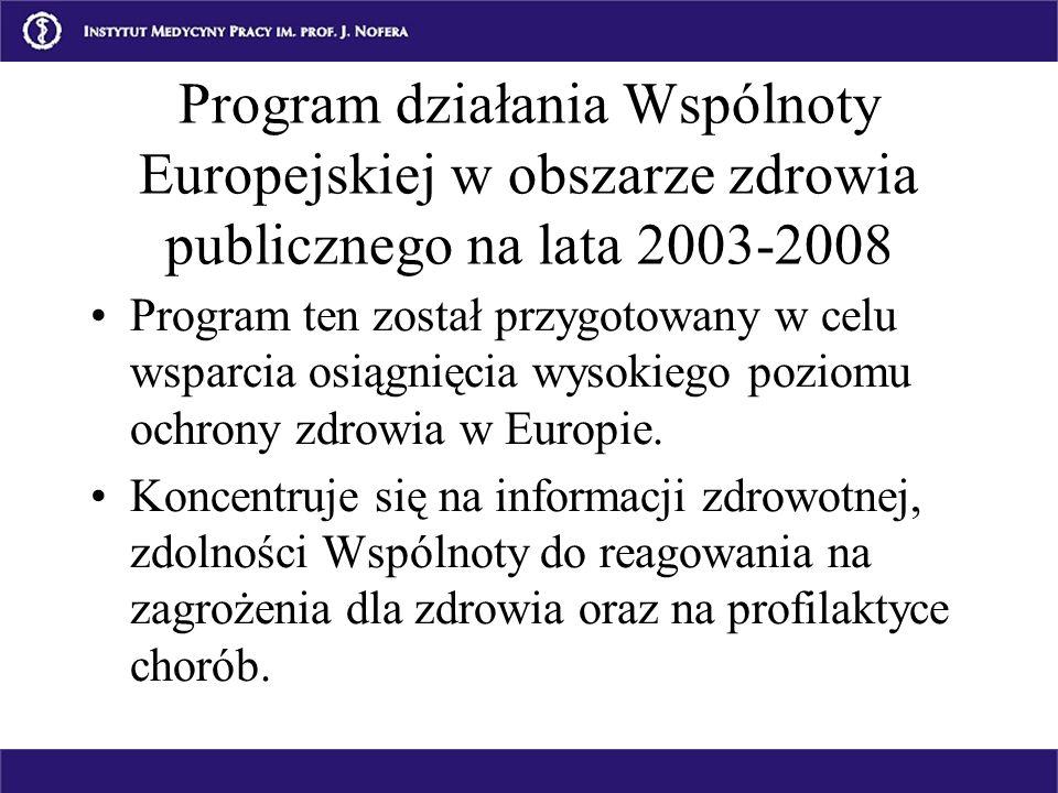 Program działania Wspólnoty Europejskiej w obszarze zdrowia publicznego na lata 2003-2008 Program ten został przygotowany w celu wsparcia osiągnięcia