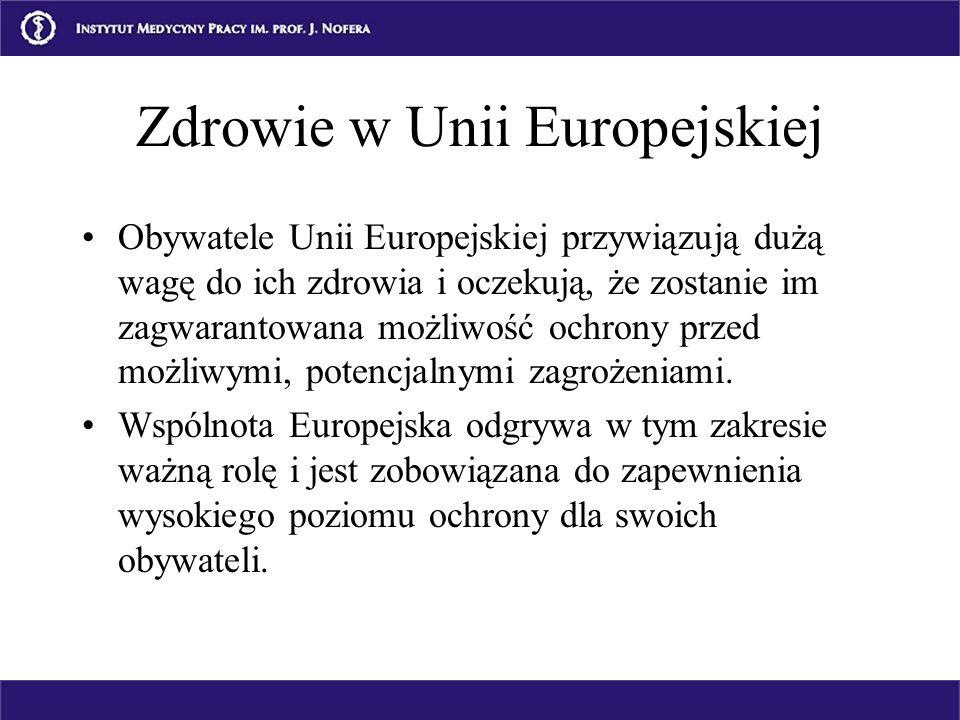 Zdrowie w Unii Europejskiej Obywatele Unii Europejskiej przywiązują dużą wagę do ich zdrowia i oczekują, że zostanie im zagwarantowana możliwość ochro