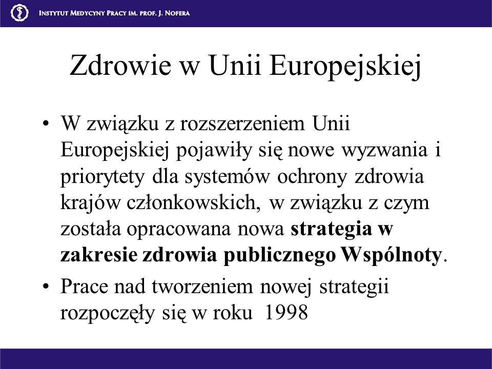 Zdrowie w Unii Europejskiej W związku z rozszerzeniem Unii Europejskiej pojawiły się nowe wyzwania i priorytety dla systemów ochrony zdrowia krajów cz