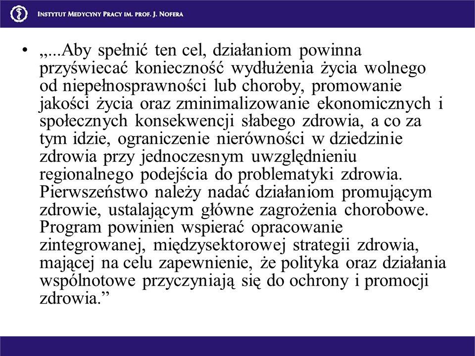 ...Aby spełnić ten cel, działaniom powinna przyświecać konieczność wydłużenia życia wolnego od niepełnosprawności lub choroby, promowanie jakości życi