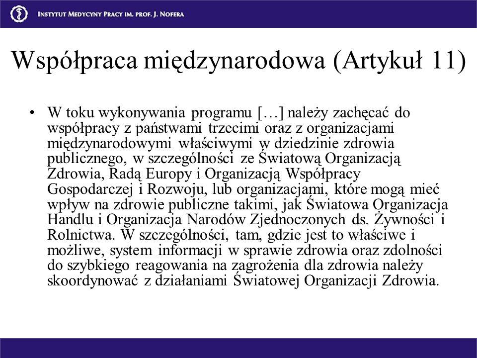 Współpraca międzynarodowa (Artykuł 11) W toku wykonywania programu […] należy zachęcać do współpracy z państwami trzecimi oraz z organizacjami międzyn