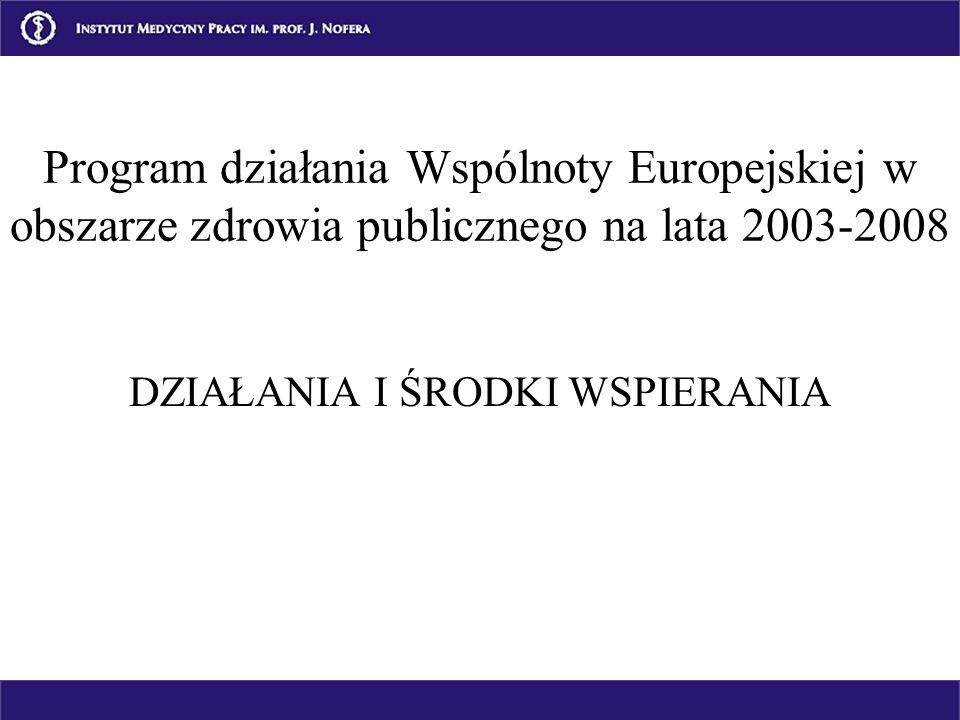 DZIAŁANIA I ŚRODKI WSPIERANIA Program działania Wspólnoty Europejskiej w obszarze zdrowia publicznego na lata 2003-2008