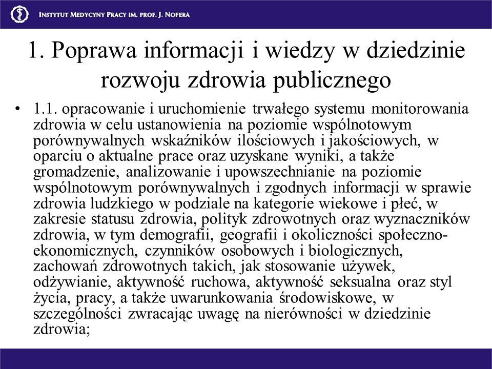 1. Poprawa informacji i wiedzy w dziedzinie rozwoju zdrowia publicznego 1.1. opracowanie i uruchomienie trwałego systemu monitorowania zdrowia w celu