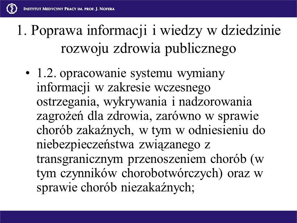 1.2. opracowanie systemu wymiany informacji w zakresie wczesnego ostrzegania, wykrywania i nadzorowania zagrożeń dla zdrowia, zarówno w sprawie chorób