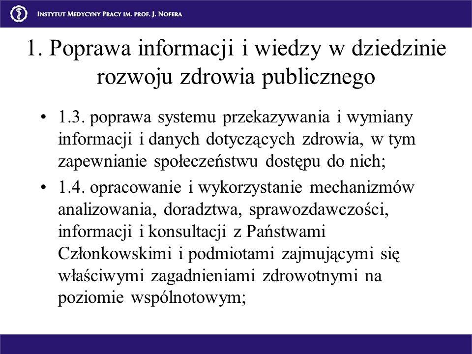 1.3. poprawa systemu przekazywania i wymiany informacji i danych dotyczących zdrowia, w tym zapewnianie społeczeństwu dostępu do nich; 1.4. opracowani