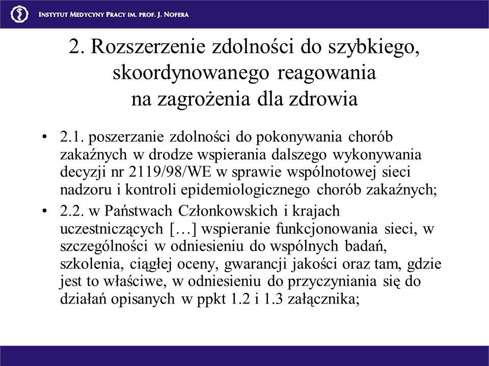2. Rozszerzenie zdolności do szybkiego, skoordynowanego reagowania na zagrożenia dla zdrowia 2.1. poszerzanie zdolności do pokonywania chorób zakaźnyc