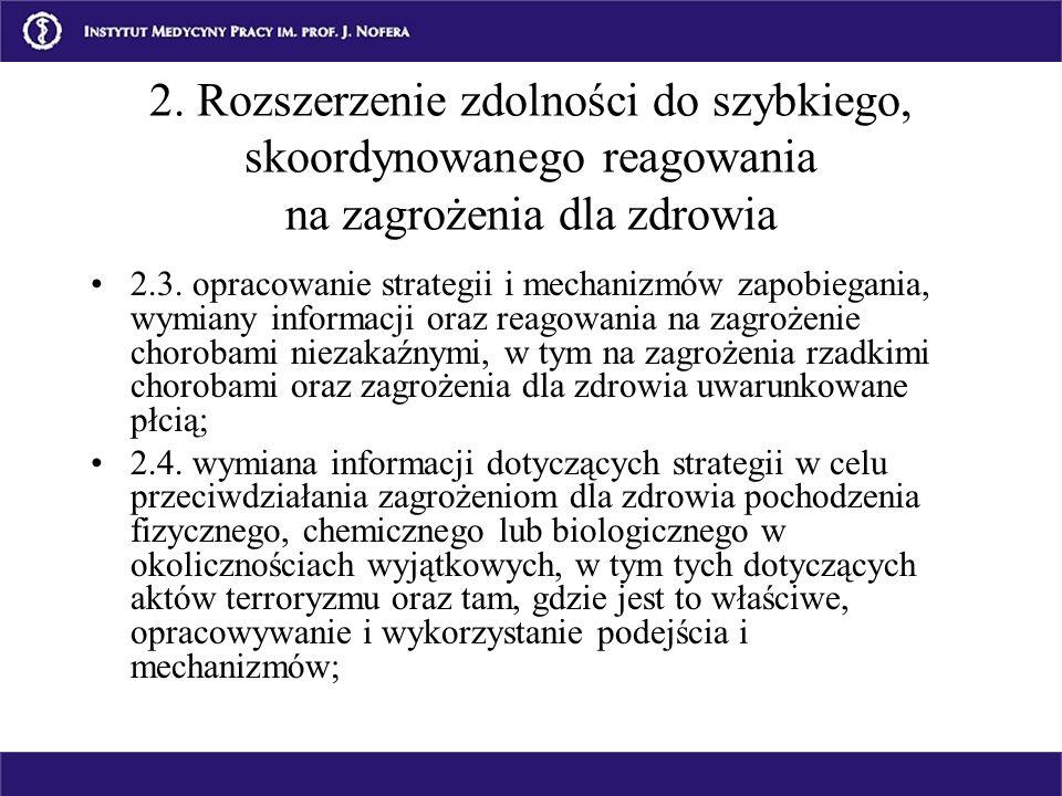 2.3. opracowanie strategii i mechanizmów zapobiegania, wymiany informacji oraz reagowania na zagrożenie chorobami niezakaźnymi, w tym na zagrożenia rz