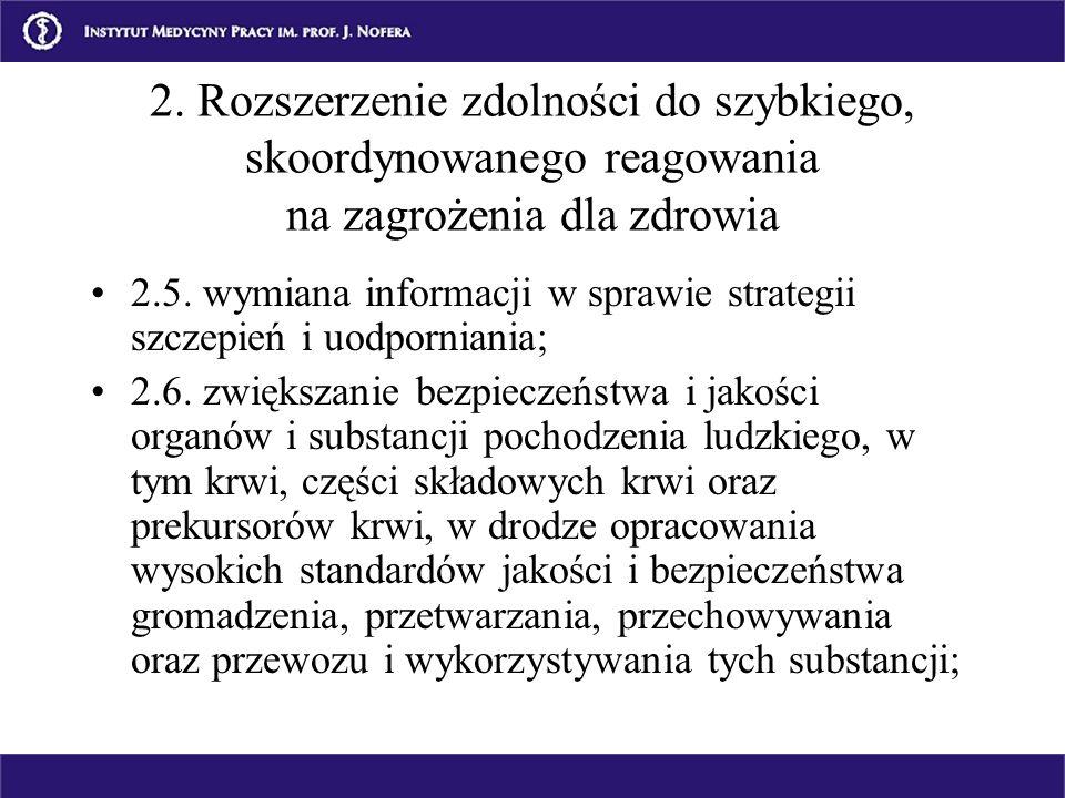 2.5. wymiana informacji w sprawie strategii szczepień i uodporniania; 2.6. zwiększanie bezpieczeństwa i jakości organów i substancji pochodzenia ludzk