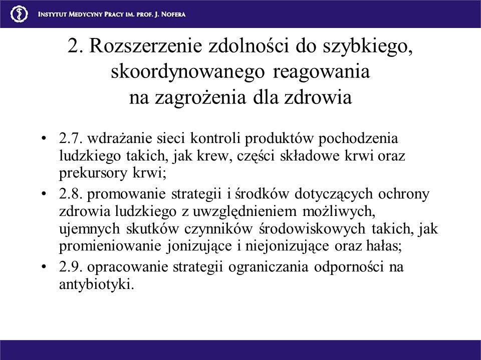 2.7. wdrażanie sieci kontroli produktów pochodzenia ludzkiego takich, jak krew, części składowe krwi oraz prekursory krwi; 2.8. promowanie strategii i