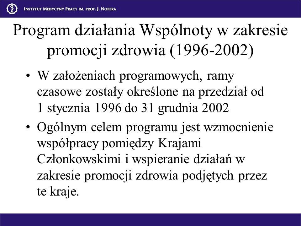 Program działania Wspólnoty w zakresie promocji zdrowia (1996-2002) W założeniach programowych, ramy czasowe zostały określone na przedział od 1 stycz
