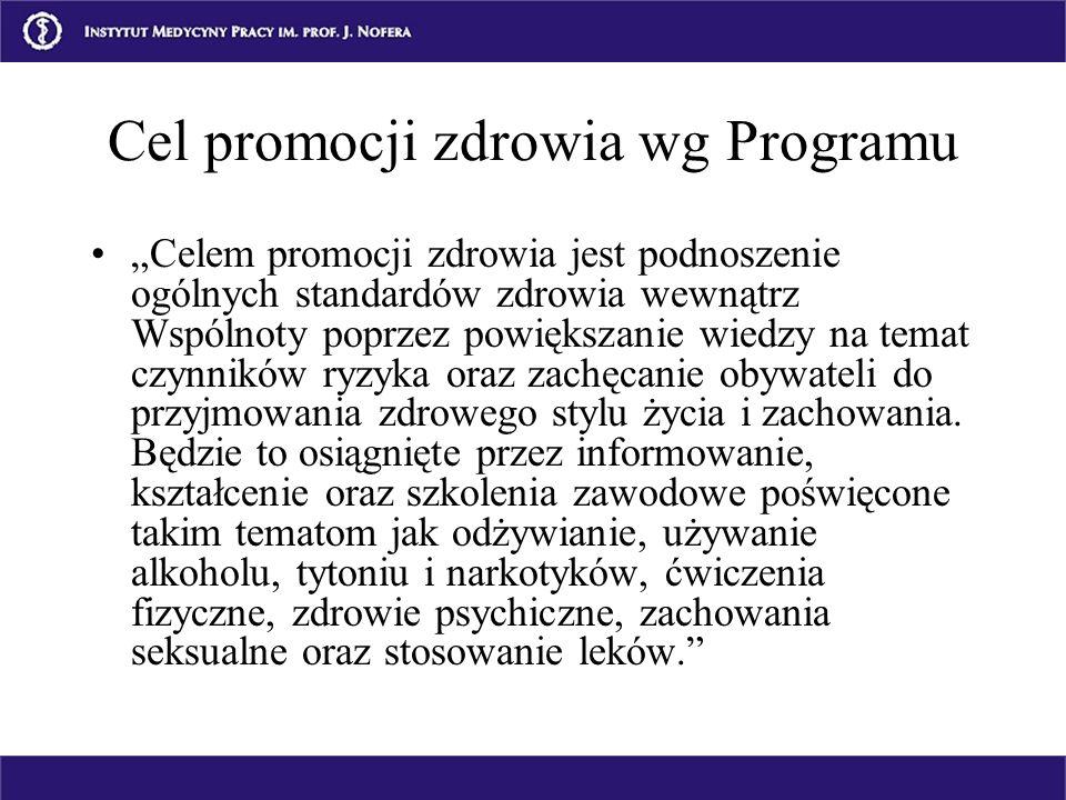 Cel promocji zdrowia wg Programu Celem promocji zdrowia jest podnoszenie ogólnych standardów zdrowia wewnątrz Wspólnoty poprzez powiększanie wiedzy na