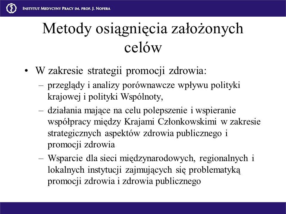Metody osiągnięcia założonych celów W zakresie strategii promocji zdrowia: –przeglądy i analizy porównawcze wpływu polityki krajowej i polityki Wspóln