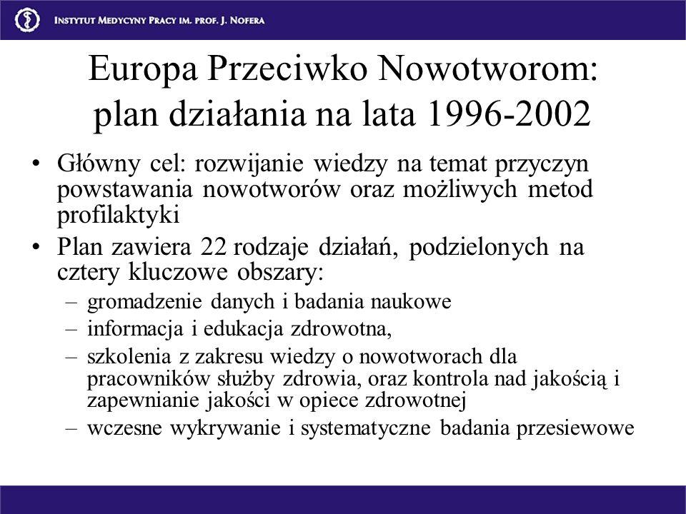 Europa Przeciwko Nowotworom: plan działania na lata 1996-2002 Główny cel: rozwijanie wiedzy na temat przyczyn powstawania nowotworów oraz możliwych me