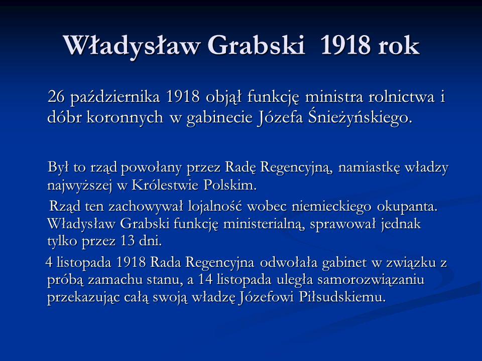 Władysław Grabski 1919 rok W grudniu 1919 roku Władysław Grabski po raz pierwszy został ministrem skarbu.