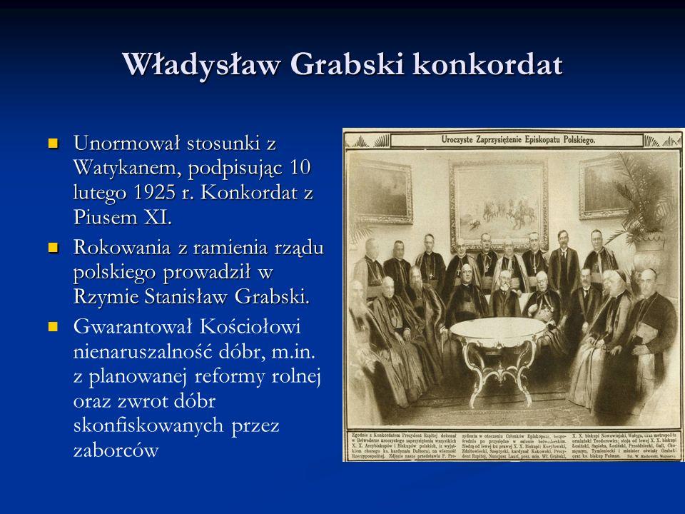 Władysław Grabski i reforma rolna Rząd przygotował projekt reformy rolnej, uchwalonej w grudniu 1925 r., czyli po dymisji gabinetu.