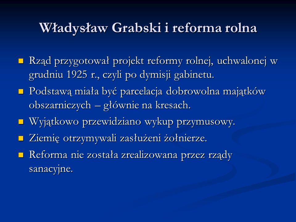 Władysław Grabski odchodzi W lipcu 1925 roku doszło do załamania kursu złotego.