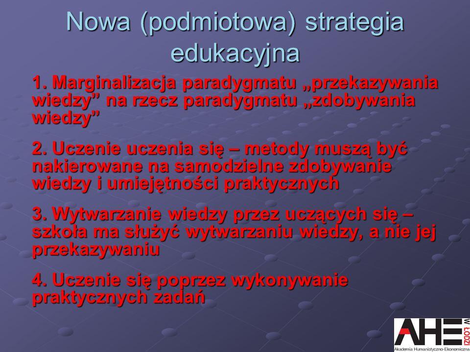 Nowa (podmiotowa) strategia edukacyjna 1. Marginalizacja paradygmatu przekazywania wiedzy na rzecz paradygmatu zdobywania wiedzy 2. Uczenie uczenia si