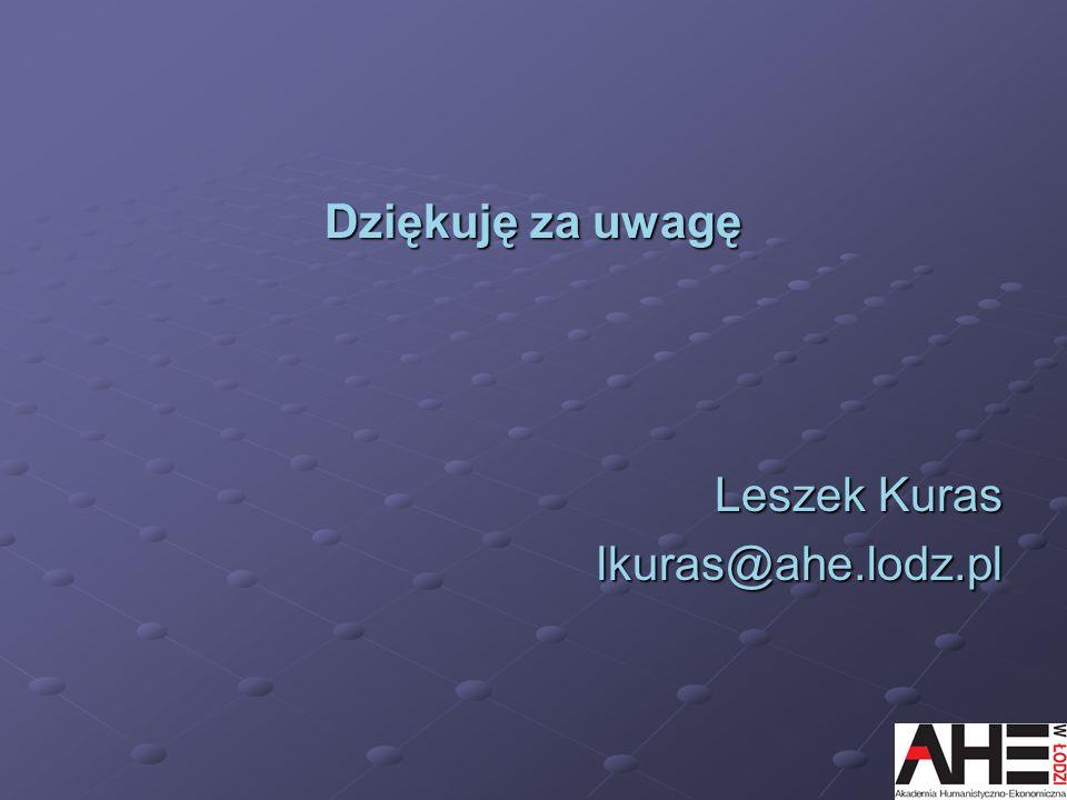 Dziękuję za uwagę Leszek Kuras lkuras@ahe.lodz.pl