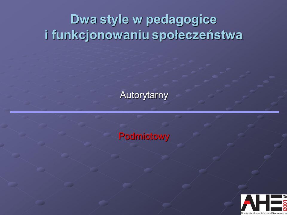 Dwa style w pedagogice i funkcjonowaniu społeczeństwa AutorytarnyPodmiotowy
