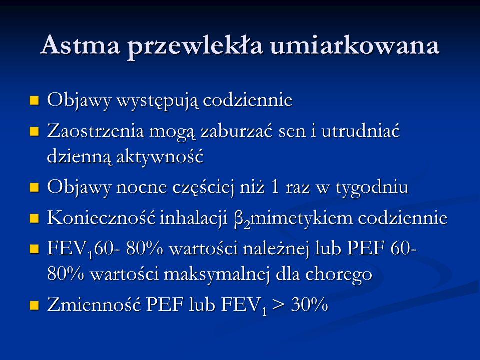 Astma przewlekła umiarkowana Objawy występują codziennie Objawy występują codziennie Zaostrzenia mogą zaburzać sen i utrudniać dzienną aktywność Zaostrzenia mogą zaburzać sen i utrudniać dzienną aktywność Objawy nocne częściej niż 1 raz w tygodniu Objawy nocne częściej niż 1 raz w tygodniu Konieczność inhalacji β 2 mimetykiem codziennie Konieczność inhalacji β 2 mimetykiem codziennie FEV 1 60- 80% wartości należnej lub PEF 60- 80% wartości maksymalnej dla chorego FEV 1 60- 80% wartości należnej lub PEF 60- 80% wartości maksymalnej dla chorego Zmienność PEF lub FEV 1 > 30% Zmienność PEF lub FEV 1 > 30%