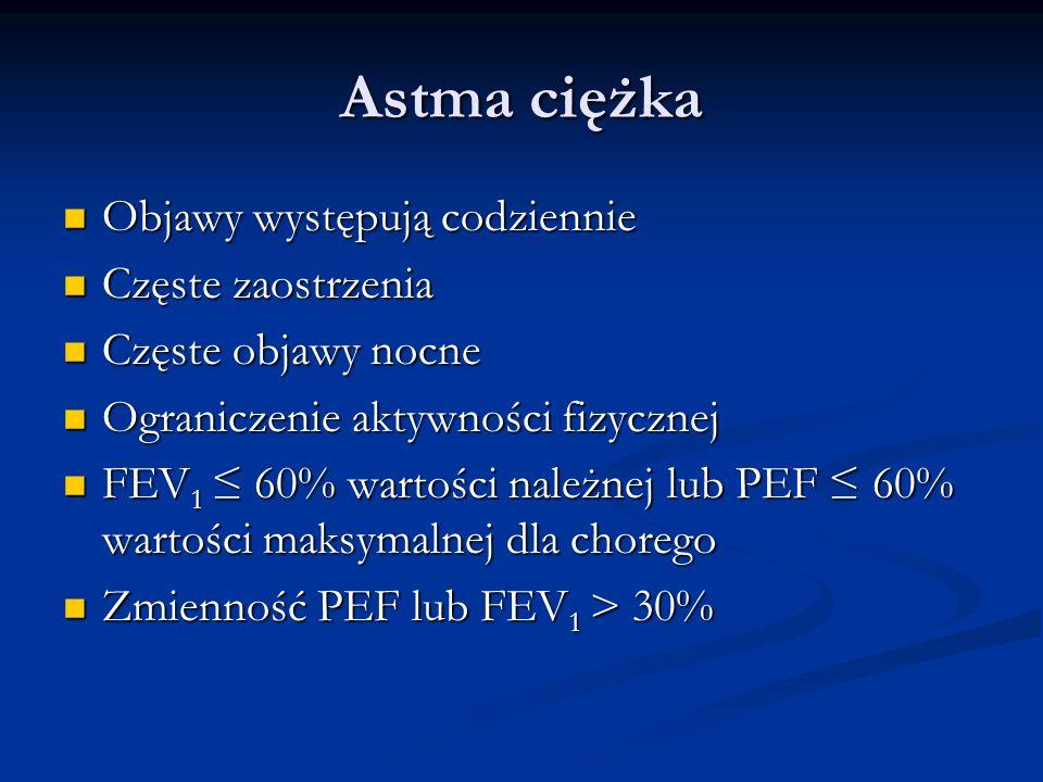 Astma ciężka Objawy występują codziennie Objawy występują codziennie Częste zaostrzenia Częste zaostrzenia Częste objawy nocne Częste objawy nocne Ograniczenie aktywności fizycznej Ograniczenie aktywności fizycznej FEV 1 60% wartości należnej lub PEF 60% wartości maksymalnej dla chorego FEV 1 60% wartości należnej lub PEF 60% wartości maksymalnej dla chorego Zmienność PEF lub FEV 1 > 30% Zmienność PEF lub FEV 1 > 30%