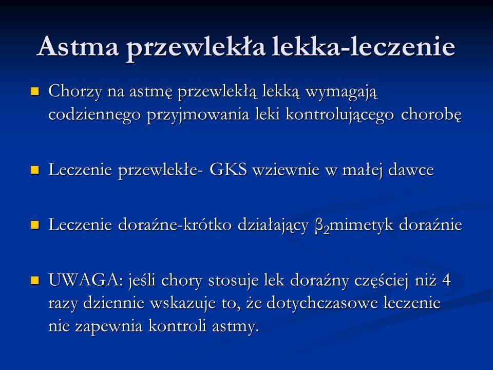 Astma przewlekła lekka-leczenie Chorzy na astmę przewlekłą lekką wymagają codziennego przyjmowania leki kontrolującego chorobę Chorzy na astmę przewlekłą lekką wymagają codziennego przyjmowania leki kontrolującego chorobę Leczenie przewlekłe- GKS wziewnie w małej dawce Leczenie przewlekłe- GKS wziewnie w małej dawce Leczenie doraźne-krótko działający β 2 mimetyk doraźnie Leczenie doraźne-krótko działający β 2 mimetyk doraźnie UWAGA: jeśli chory stosuje lek doraźny częściej niż 4 razy dziennie wskazuje to, że dotychczasowe leczenie nie zapewnia kontroli astmy.