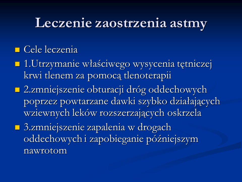 Leczenie zaostrzenia astmy Cele leczenia Cele leczenia 1.Utrzymanie właściwego wysycenia tętniczej krwi tlenem za pomocą tlenoterapii 1.Utrzymanie właściwego wysycenia tętniczej krwi tlenem za pomocą tlenoterapii 2.zmniejszenie obturacji dróg oddechowych poprzez powtarzane dawki szybko działających wziewnych leków rozszerzających oskrzela 2.zmniejszenie obturacji dróg oddechowych poprzez powtarzane dawki szybko działających wziewnych leków rozszerzających oskrzela 3.zmniejszenie zapalenia w drogach oddechowych i zapobieganie późniejszym nawrotom 3.zmniejszenie zapalenia w drogach oddechowych i zapobieganie późniejszym nawrotom