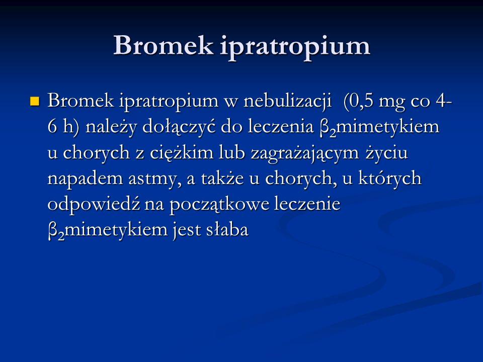Bromek ipratropium Bromek ipratropium w nebulizacji (0,5 mg co 4- 6 h) należy dołączyć do leczenia β 2 mimetykiem u chorych z ciężkim lub zagrażającym życiu napadem astmy, a także u chorych, u których odpowiedź na początkowe leczenie β 2 mimetykiem jest słaba Bromek ipratropium w nebulizacji (0,5 mg co 4- 6 h) należy dołączyć do leczenia β 2 mimetykiem u chorych z ciężkim lub zagrażającym życiu napadem astmy, a także u chorych, u których odpowiedź na początkowe leczenie β 2 mimetykiem jest słaba