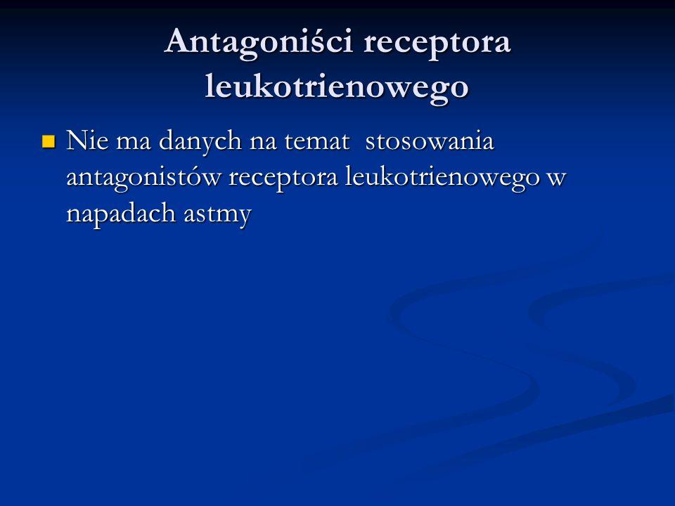 Antagoniści receptora leukotrienowego Nie ma danych na temat stosowania antagonistów receptora leukotrienowego w napadach astmy Nie ma danych na temat stosowania antagonistów receptora leukotrienowego w napadach astmy