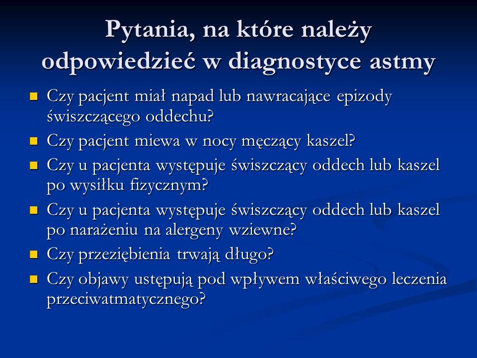 Pytania, na które należy odpowiedzieć w diagnostyce astmy Czy pacjent miał napad lub nawracające epizody świszczącego oddechu.