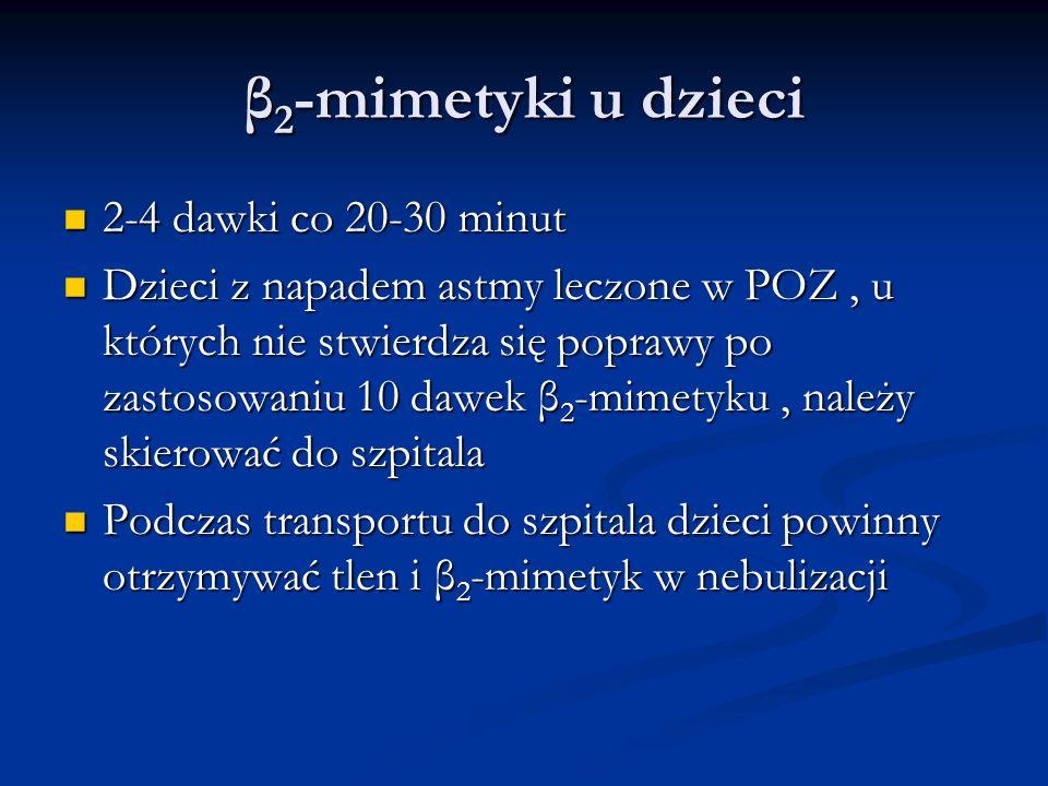 β 2 -mimetyki u dzieci 2-4 dawki co 20-30 minut 2-4 dawki co 20-30 minut Dzieci z napadem astmy leczone w POZ, u których nie stwierdza się poprawy po zastosowaniu 10 dawek β 2 -mimetyku, należy skierować do szpitala Dzieci z napadem astmy leczone w POZ, u których nie stwierdza się poprawy po zastosowaniu 10 dawek β 2 -mimetyku, należy skierować do szpitala Podczas transportu do szpitala dzieci powinny otrzymywać tlen i β 2 -mimetyk w nebulizacji Podczas transportu do szpitala dzieci powinny otrzymywać tlen i β 2 -mimetyk w nebulizacji