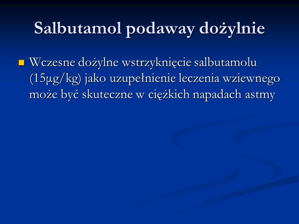 Salbutamol podaway dożylnie Wczesne dożylne wstrzyknięcie salbutamolu (15μg/kg) jako uzupełnienie leczenia wziewnego może być skuteczne w ciężkich napadach astmy Wczesne dożylne wstrzyknięcie salbutamolu (15μg/kg) jako uzupełnienie leczenia wziewnego może być skuteczne w ciężkich napadach astmy