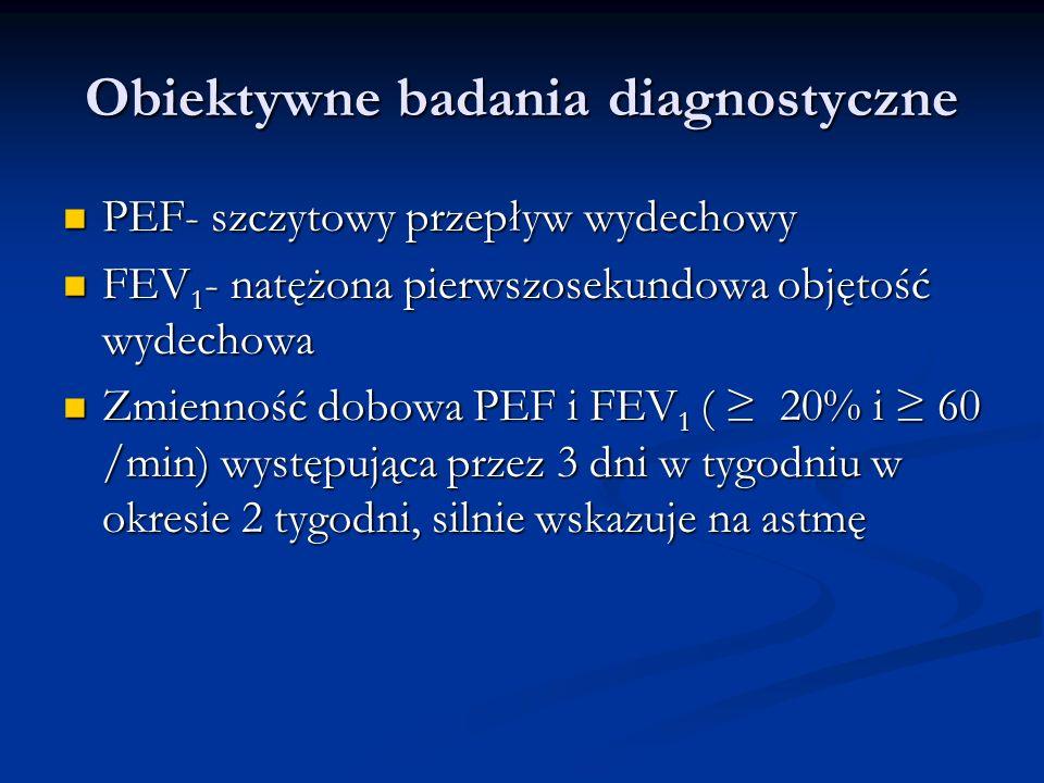 Obiektywne badania diagnostyczne PEF- szczytowy przepływ wydechowy PEF- szczytowy przepływ wydechowy FEV 1 - natężona pierwszosekundowa objętość wydechowa FEV 1 - natężona pierwszosekundowa objętość wydechowa Zmienność dobowa PEF i FEV 1 ( 20% i 60 /min) występująca przez 3 dni w tygodniu w okresie 2 tygodni, silnie wskazuje na astmę Zmienność dobowa PEF i FEV 1 ( 20% i 60 /min) występująca przez 3 dni w tygodniu w okresie 2 tygodni, silnie wskazuje na astmę
