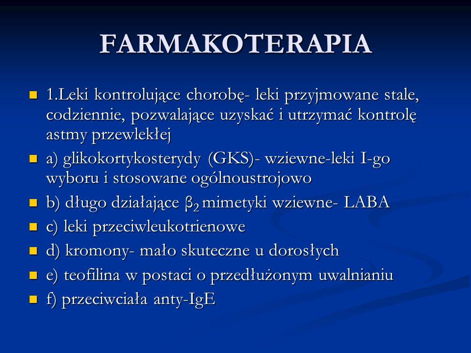 FARMAKOTERAPIA 1.Leki kontrolujące chorobę- leki przyjmowane stale, codziennie, pozwalające uzyskać i utrzymać kontrolę astmy przewlekłej 1.Leki kontrolujące chorobę- leki przyjmowane stale, codziennie, pozwalające uzyskać i utrzymać kontrolę astmy przewlekłej a) glikokortykosterydy (GKS)- wziewne-leki I-go wyboru i stosowane ogólnoustrojowo a) glikokortykosterydy (GKS)- wziewne-leki I-go wyboru i stosowane ogólnoustrojowo b) długo działające β 2 mimetyki wziewne- LABA b) długo działające β 2 mimetyki wziewne- LABA c) leki przeciwleukotrienowe c) leki przeciwleukotrienowe d) kromony- mało skuteczne u dorosłych d) kromony- mało skuteczne u dorosłych e) teofilina w postaci o przedłużonym uwalnianiu e) teofilina w postaci o przedłużonym uwalnianiu f) przeciwciała anty-IgE f) przeciwciała anty-IgE