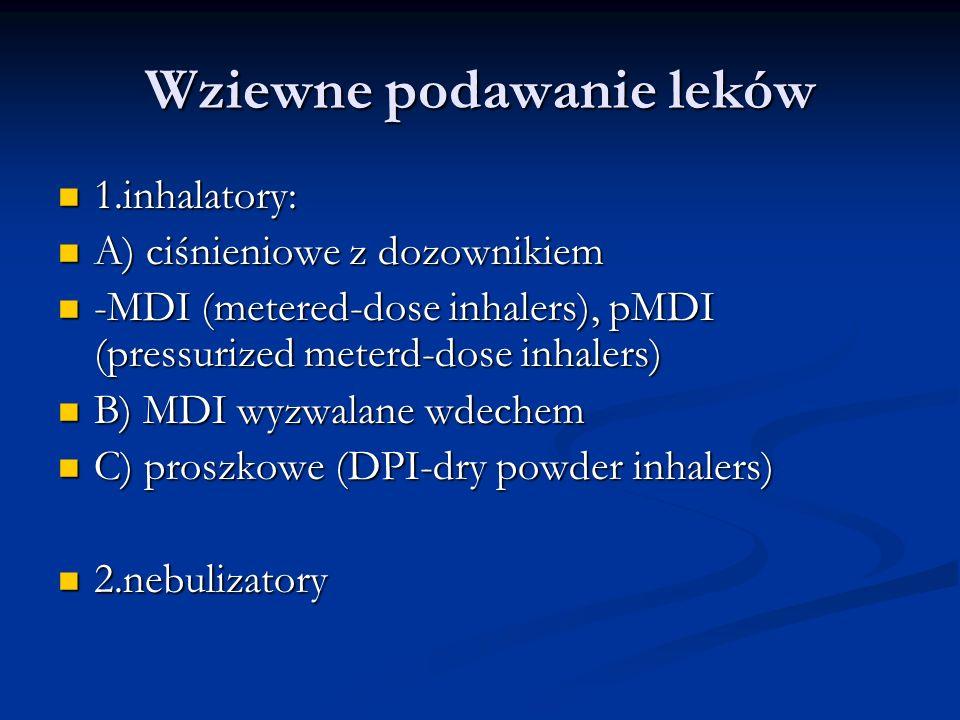 Wziewne podawanie leków 1.inhalatory: 1.inhalatory: A) ciśnieniowe z dozownikiem A) ciśnieniowe z dozownikiem -MDI (metered-dose inhalers), pMDI (pressurized meterd-dose inhalers) -MDI (metered-dose inhalers), pMDI (pressurized meterd-dose inhalers) B) MDI wyzwalane wdechem B) MDI wyzwalane wdechem C) proszkowe (DPI-dry powder inhalers) C) proszkowe (DPI-dry powder inhalers) 2.nebulizatory 2.nebulizatory