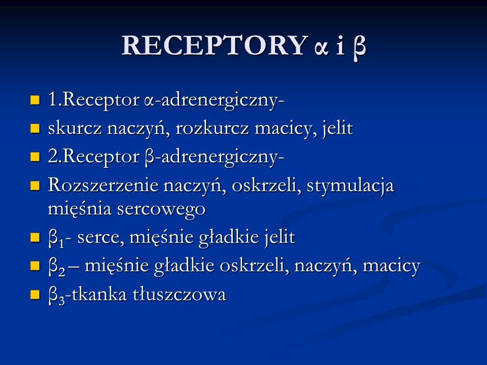RECEPTORY α i β 1.Receptor α-adrenergiczny- 1.Receptor α-adrenergiczny- skurcz naczyń, rozkurcz macicy, jelit skurcz naczyń, rozkurcz macicy, jelit 2.Receptor β-adrenergiczny- 2.Receptor β-adrenergiczny- Rozszerzenie naczyń, oskrzeli, stymulacja mięśnia sercowego Rozszerzenie naczyń, oskrzeli, stymulacja mięśnia sercowego β 1 - serce, mięśnie gładkie jelit β 1 - serce, mięśnie gładkie jelit β 2 – mięśnie gładkie oskrzeli, naczyń, macicy β 2 – mięśnie gładkie oskrzeli, naczyń, macicy β 3 -tkanka tłuszczowa β 3 -tkanka tłuszczowa