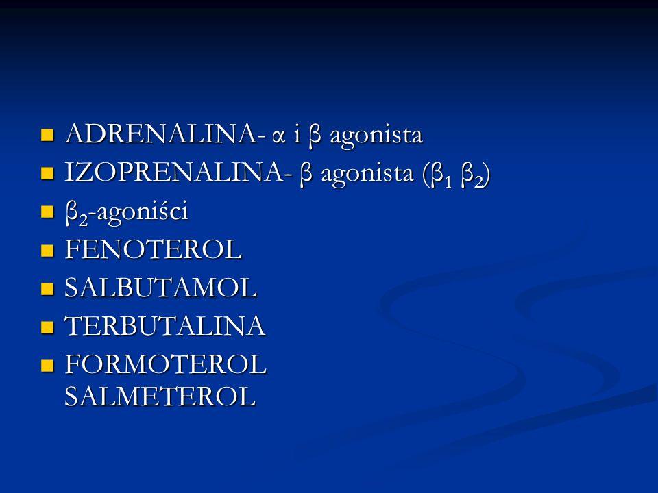ADRENALINA- α i β agonista ADRENALINA- α i β agonista IZOPRENALINA- β agonista (β 1 β 2 ) IZOPRENALINA- β agonista (β 1 β 2 ) β 2 -agoniści β 2 -agoniści FENOTEROL FENOTEROL SALBUTAMOL SALBUTAMOL TERBUTALINA TERBUTALINA FORMOTEROL SALMETEROL FORMOTEROL SALMETEROL