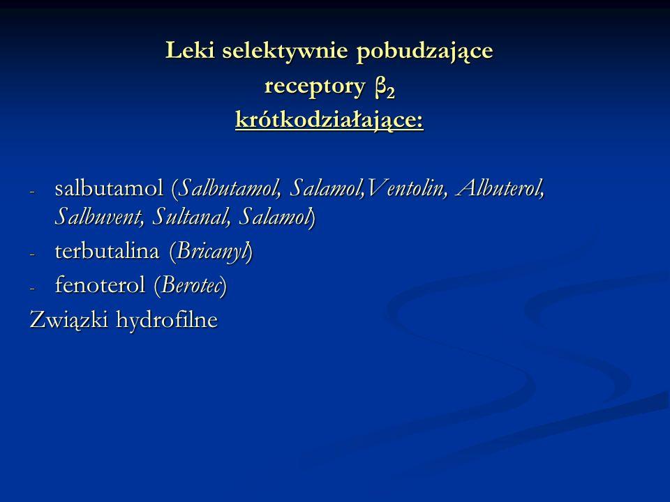Leki selektywnie pobudzające receptory β 2 krótkodziałające: - salbutamol (Salbutamol, Salamol,Ventolin, Albuterol, Salbuvent, Sultanal, Salamol) - terbutalina (Bricanyl) - fenoterol (Berotec) Związki hydrofilne
