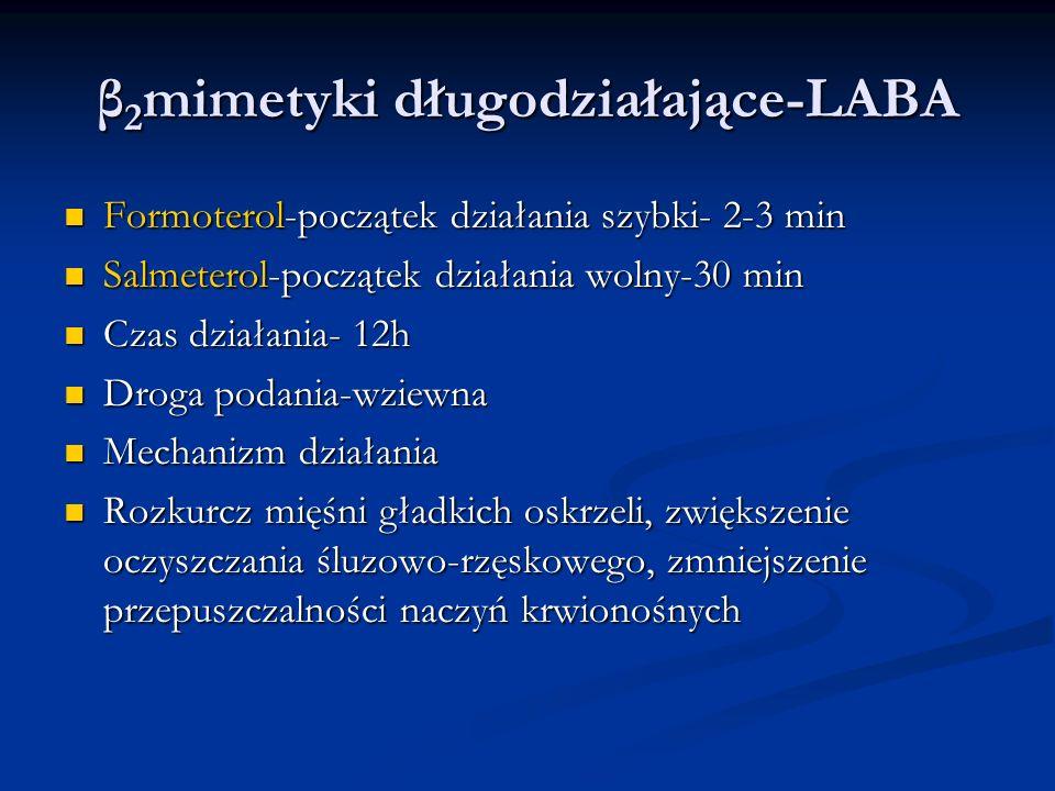 β 2 mimetyki długodziałające-LABA Formoterol-początek działania szybki- 2-3 min Formoterol-początek działania szybki- 2-3 min Salmeterol-początek działania wolny-30 min Salmeterol-początek działania wolny-30 min Czas działania- 12h Czas działania- 12h Droga podania-wziewna Droga podania-wziewna Mechanizm działania Mechanizm działania Rozkurcz mięśni gładkich oskrzeli, zwiększenie oczyszczania śluzowo-rzęskowego, zmniejszenie przepuszczalności naczyń krwionośnych Rozkurcz mięśni gładkich oskrzeli, zwiększenie oczyszczania śluzowo-rzęskowego, zmniejszenie przepuszczalności naczyń krwionośnych