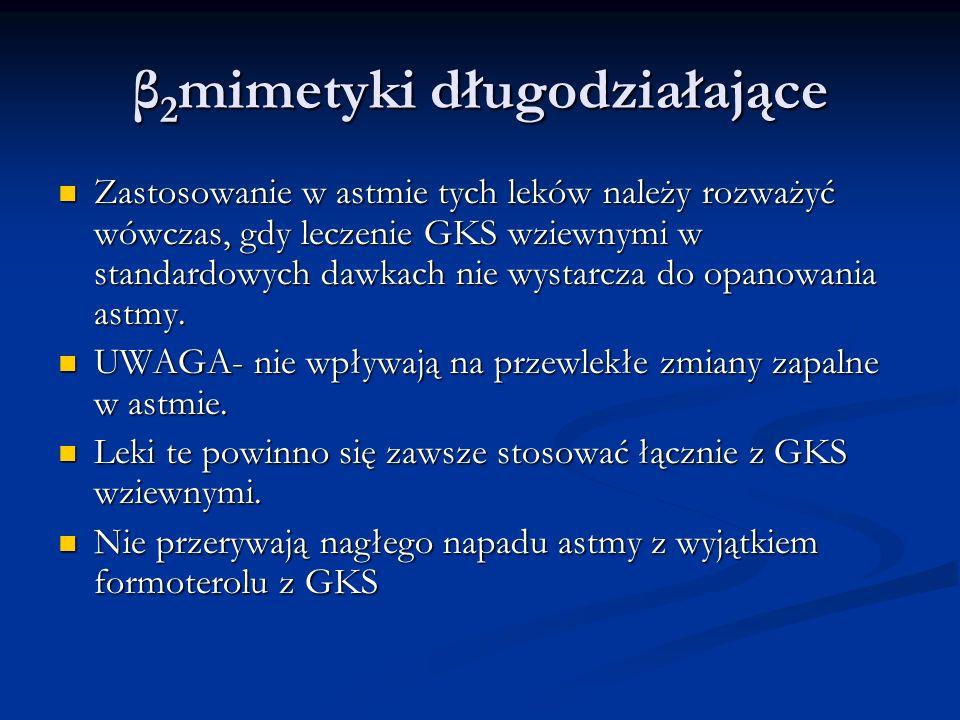 β 2 mimetyki długodziałające Zastosowanie w astmie tych leków należy rozważyć wówczas, gdy leczenie GKS wziewnymi w standardowych dawkach nie wystarcza do opanowania astmy.