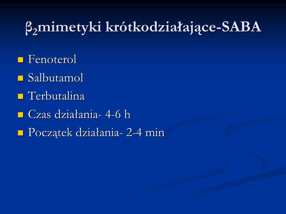 β 2 mimetyki krótkodziałające-SABA Fenoterol Fenoterol Salbutamol Salbutamol Terbutalina Terbutalina Czas działania- 4-6 h Czas działania- 4-6 h Początek działania- 2-4 min Początek działania- 2-4 min