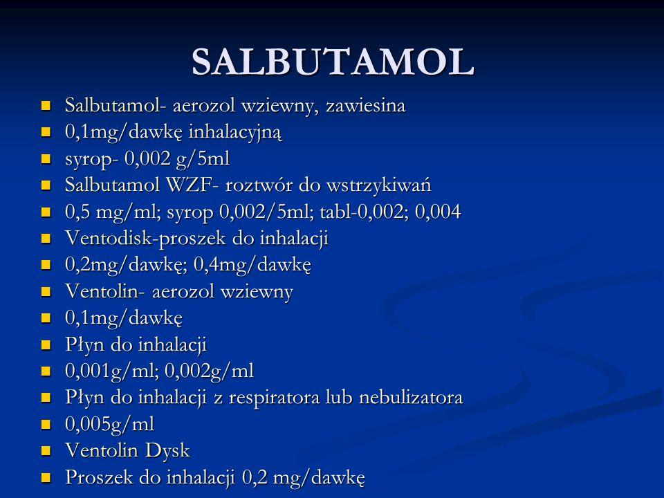 SALBUTAMOL Salbutamol- aerozol wziewny, zawiesina Salbutamol- aerozol wziewny, zawiesina 0,1mg/dawkę inhalacyjną 0,1mg/dawkę inhalacyjną syrop- 0,002 g/5ml syrop- 0,002 g/5ml Salbutamol WZF- roztwór do wstrzykiwań Salbutamol WZF- roztwór do wstrzykiwań 0,5 mg/ml; syrop 0,002/5ml; tabl-0,002; 0,004 0,5 mg/ml; syrop 0,002/5ml; tabl-0,002; 0,004 Ventodisk-proszek do inhalacji Ventodisk-proszek do inhalacji 0,2mg/dawkę; 0,4mg/dawkę 0,2mg/dawkę; 0,4mg/dawkę Ventolin- aerozol wziewny Ventolin- aerozol wziewny 0,1mg/dawkę 0,1mg/dawkę Płyn do inhalacji Płyn do inhalacji 0,001g/ml; 0,002g/ml 0,001g/ml; 0,002g/ml Płyn do inhalacji z respiratora lub nebulizatora Płyn do inhalacji z respiratora lub nebulizatora 0,005g/ml 0,005g/ml Ventolin Dysk Ventolin Dysk Proszek do inhalacji 0,2 mg/dawkę Proszek do inhalacji 0,2 mg/dawkę