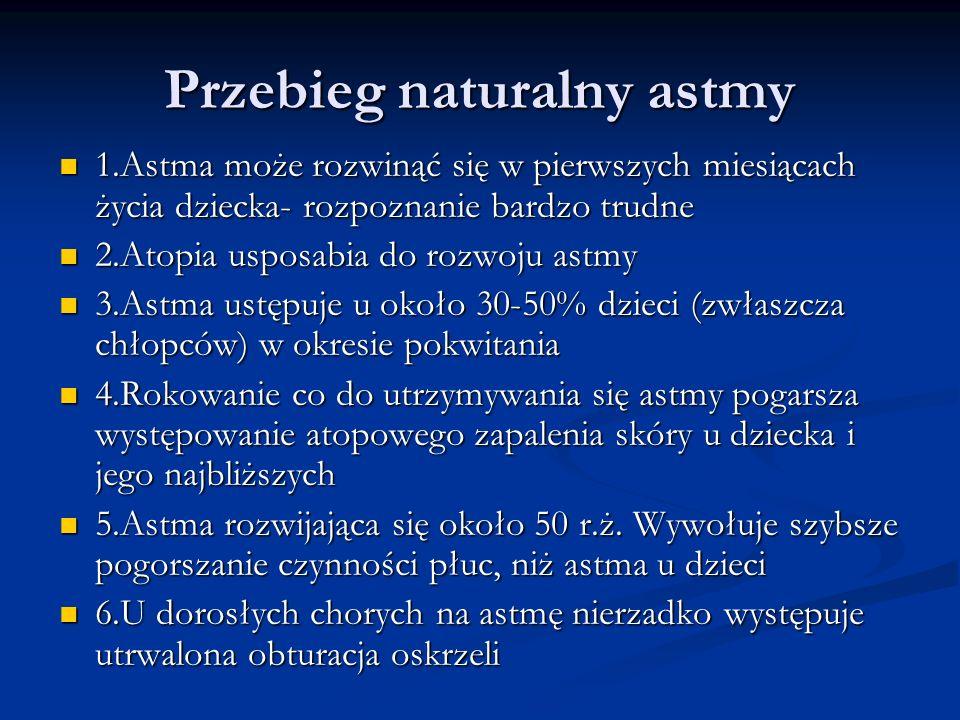 Przebieg naturalny astmy 1.Astma może rozwinąć się w pierwszych miesiącach życia dziecka- rozpoznanie bardzo trudne 1.Astma może rozwinąć się w pierwszych miesiącach życia dziecka- rozpoznanie bardzo trudne 2.Atopia usposabia do rozwoju astmy 2.Atopia usposabia do rozwoju astmy 3.Astma ustępuje u około 30-50% dzieci (zwłaszcza chłopców) w okresie pokwitania 3.Astma ustępuje u około 30-50% dzieci (zwłaszcza chłopców) w okresie pokwitania 4.Rokowanie co do utrzymywania się astmy pogarsza występowanie atopowego zapalenia skóry u dziecka i jego najbliższych 4.Rokowanie co do utrzymywania się astmy pogarsza występowanie atopowego zapalenia skóry u dziecka i jego najbliższych 5.Astma rozwijająca się około 50 r.ż.