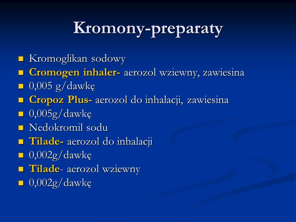 Kromony-preparaty Kromoglikan sodowy Kromoglikan sodowy Cromogen inhaler- aerozol wziewny, zawiesina Cromogen inhaler- aerozol wziewny, zawiesina 0,005 g/dawkę 0,005 g/dawkę Cropoz Plus- aerozol do inhalacji, zawiesina Cropoz Plus- aerozol do inhalacji, zawiesina 0,005g/dawkę 0,005g/dawkę Nedokromil sodu Nedokromil sodu Tilade- aerozol do inhalacji Tilade- aerozol do inhalacji 0,002g/dawkę 0,002g/dawkę Tilade- aerozol wziewny Tilade- aerozol wziewny 0,002g/dawkę 0,002g/dawkę